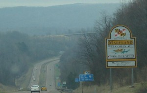 Entering Maryland from West Virginia on I-68 East towards Cumberland.