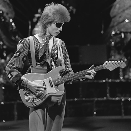 David Bowie, shooting his video for Rebel Rebel in AVRO's TopPop (Dutch television show) in 1974